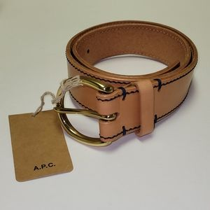 A.P.C. Camel Leather Belt with Brass Buckle